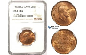 R821, Sarawak, C.V. Brooke Rajah, Cent 1937-H, Heaton, NGC MS64RD