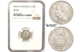 R827, Venezuela, 1/2 Bolivar 1893-A, Paris, Silver, NGC XF45