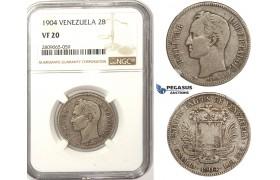 R828, Venezuela, 2 Bolivares 1904, Silver, NGC VF20