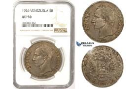 R830, Venezuela, 5 Bolivares 1926, Silver, NGC AU50