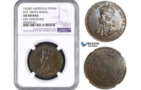 R835, Australia, George V, Penny 1920 (P) Dot Above Lower Scroll, NGC AU Det. Very Rare!