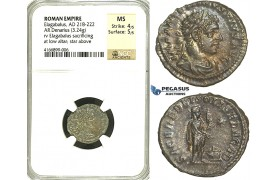 R85, Roman Empire, Elagabal (218-222 AD) AR Denarius (3.24g) Rome, 221-222 AD, SOLIS, NGC MS