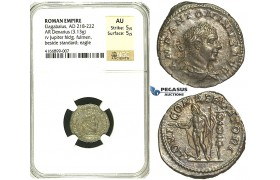 R86, Roman Empire, Elagabal (218-222 AD) AR Denarius (3.13g) Rome, 218-222 AD, Jupiter, NGC AU