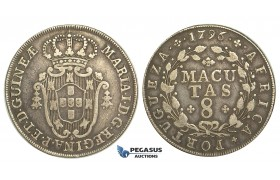 R88, Angola, Maria I, 8 Macutas 1796, Silver, Nice toning!