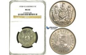 R90, British North Borneo, 5 Cents 1928-H, Heaton, NGC MS66 (Rare Grade)