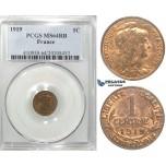 R99, France, Third Republic, 1 Centime 1919, Paris, PCGS MS64RB