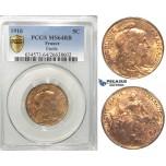 S03, France, Third Republic, 5 Centimes 1916, Paris, PCGS MS64RB