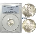 S07, France, Third Republic, 50 Centimes 1916, Paris, Silver, PCGS MS65