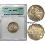 S10, France, Third Republic, Franc 1918, Paris, Silver, ICG MS65 (Rainbow toning)