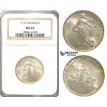 S15, France, Third Republic, 2 Francs 1916, Paris, Silver, NGC MS63