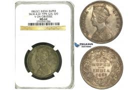 S25, India (British) Victoria, Rupee 1862 (C) Calcutta, Silver, S&W 4.41, Type G/6, NGC MS62 (Pop 1/1, Finest!)