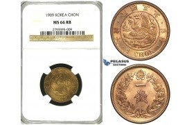 S29, Korea, Yung Hi, Chon Year 3 (1909) NGC MS66RB (Pop 1/3, No finer!)