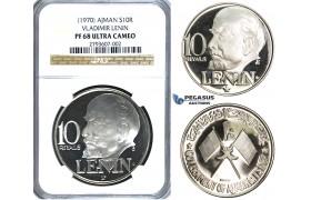 S54, United Arab Emirates, Ajman (Lenin) 10 R. 1970, Silver, NGC PF68 Ultra Cameo
