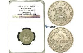 S55, Venezuela, 12 1/2 Centimos 1896, NGC UNC