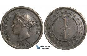 S58, Cyprus, Victoria, 1/4 Piastre 1881-H, Heaton, Nice!