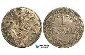 S66, Curacao, 1 Reaal 1821 (4 Acorns) Silver, High Grade, Dark toning, Few Marks!