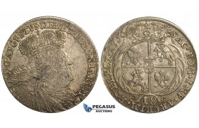 S70, Poland, August III, Ort 1756 E-C, Leipzig, Silver (6.04g) Remaining Luster! R2