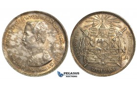 S72, Thailand, Rama V, 1 Baht ND (1876-1900) Silver, Spotted Toning, High Grade!