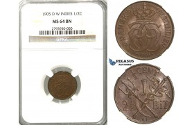 S81, Danish West Indies, Christian IX, 1/2C. (2-1/2 Bit) 1905, Copenhagen, NGC MS64BN