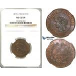 S84, France, Third Republic, 5 Centimes 1875-A, Paris, NGC MS65BN (Pop 1/1, Finest!)