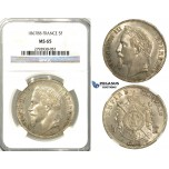 S93, France, Napoleon III, 5 Francs 1867-BB, Strasbourg, Silver, NGC MS65 (Pop 1/1, Finest!)