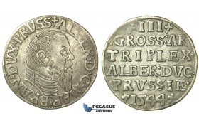 T001, Poland (for Prussia) Albrecht, 3 Groschen (Trojak) 1544, Silver (2.69g) VF