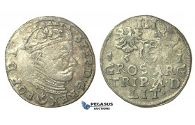 T002, Poland (for Lithuania) Stefan Bathory, 3 Groschen (Trojak) 1581, Vilnius, Silver (2.52g)
