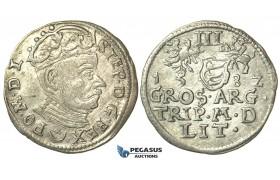 T003, Poland (for Lithuania) Stefan Bathory, 3 Groschen (Trojak) 1582, Vilnius, Silver (2.28g)