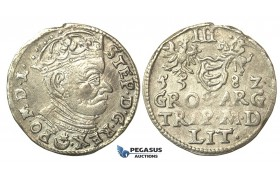 T004, Poland (for Lithuania) Stefan Bathory, 3 Groschen (Trojak) 1582, Vilnius, Silver (2.21g)