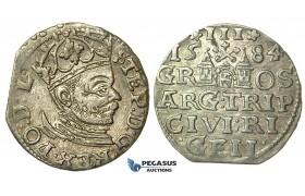 T005, Poland (for Riga) Stefan Bathory, 3 Groschen (Trojak) 1584, Riga, Silver (2.43g) High Grade!
