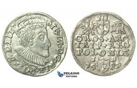 T006, Poland, Sigismund III, 3 Groschen (Trojak) 1589 I/D, Olkusz, Silver (2.24g)