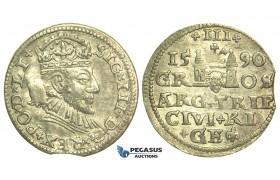 T10, Poland (for Riga) Sigismund III, 3 Groschen (Trojak) 1590, Riga, Silver (2.26g)