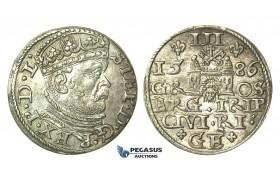 T102, Poland (for Riga) Stefan Bathory, 3 Groschen (Trojak) 1586, Riga, Silver (2.36g) High Grade!