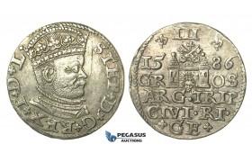 T103, Poland (for Riga) Stefan Bathory, 3 Groschen (Trojak) 1586, Riga, Silver (2.27g) High Grade!