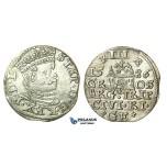 T104, Poland (for Riga) Stefan Bathory, 3 Groschen (Trojak) 1586, Riga, Silver (2.41g) High Grade!