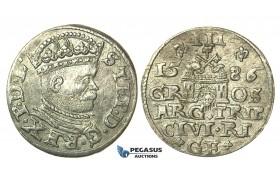 T105, Poland (for Riga) Stefan Bathory, 3 Groschen (Trojak) 1586, Riga, Silver (2.24g) High Grade!