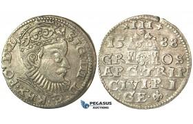 T106, Poland (for Riga) Sigismund III, 3 Groschen (Trojak) 1588, Riga, Silver (1.98g)