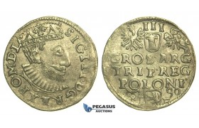 T11, Poland, Sigismund III, 3 Groschen (Trojak) 1590 I/F, Poznan (Posen) Silver (2.59g)