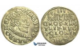 T12, Poland, Sigismund III, 3 Groschen (Trojak) 1590 I/D, Poznan (Posen) Silver (2.17g) Iger P.90.1d, Toned VF