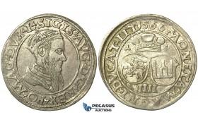 T128, Poland (for Lithuania) Sigismund II Augustus, 4 Groschen 1566-SA, Vilnius, Silver (3.85g)