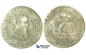 T132, Poland (for Lithuania) Sigismund II Augustus, 4 Groschen 1568-SA, Vilnius, Silver (3.26g)