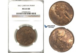 R377, Great Britain, Victoria, Penny 1862, NGC MS64RB