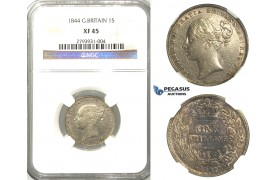 R378, Great Britain, Victoria, Shilling 1844, Silver, NGC XF45
