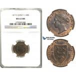 U06, Jersey, Victoria, 1/48 Shilling 1877-H, Heaton, NGC MS63BN