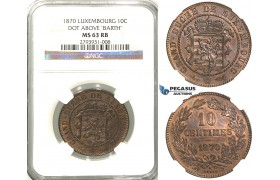 R379, Luxembourg, Guillaume III, 10 Centimes 1870 (Dot above B.) NGC MS63RB