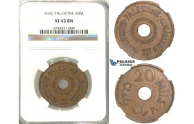R380, Palestine, 20 Mils 1942, NGC XF45BN