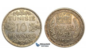U21, Tunisia, Ahmad Pasha Bey, 10 Francs AH1353 (1934) Paris, Silver, High Grade with lovely toning!
