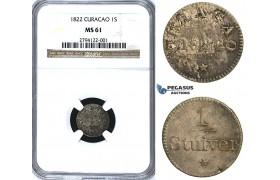 U31, Curacao, 1 Stuiver 1822, Silver, NGC MS61