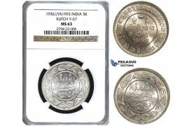 U41, India, Kutch, 5 Kori VS1993 (1936) Silver, NGC MS63