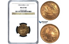 U42, Korea, Kuang Mu, 1/2 Chon Yr. 10 (1906) NGC MS67RD (Pop 1/1, Finest!) Very Rare!